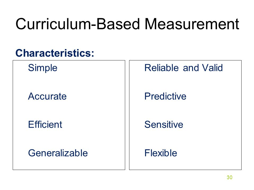 Curriculum-Based Measurement Characteristics: Simple Accurate Efficient Generalizable Reliable and Valid Predictive Sensitive Flexible 30