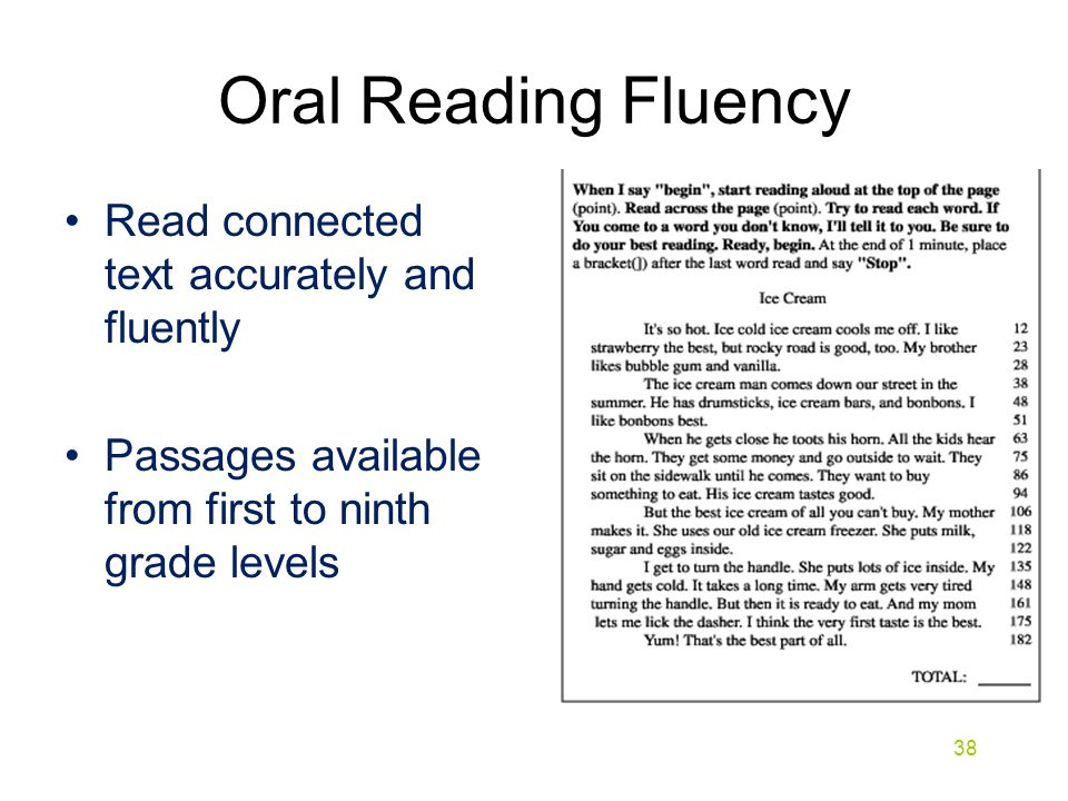 Read connected text accurately and fluently Passages available from first to ninth grade levels Oral Reading Fluency 38