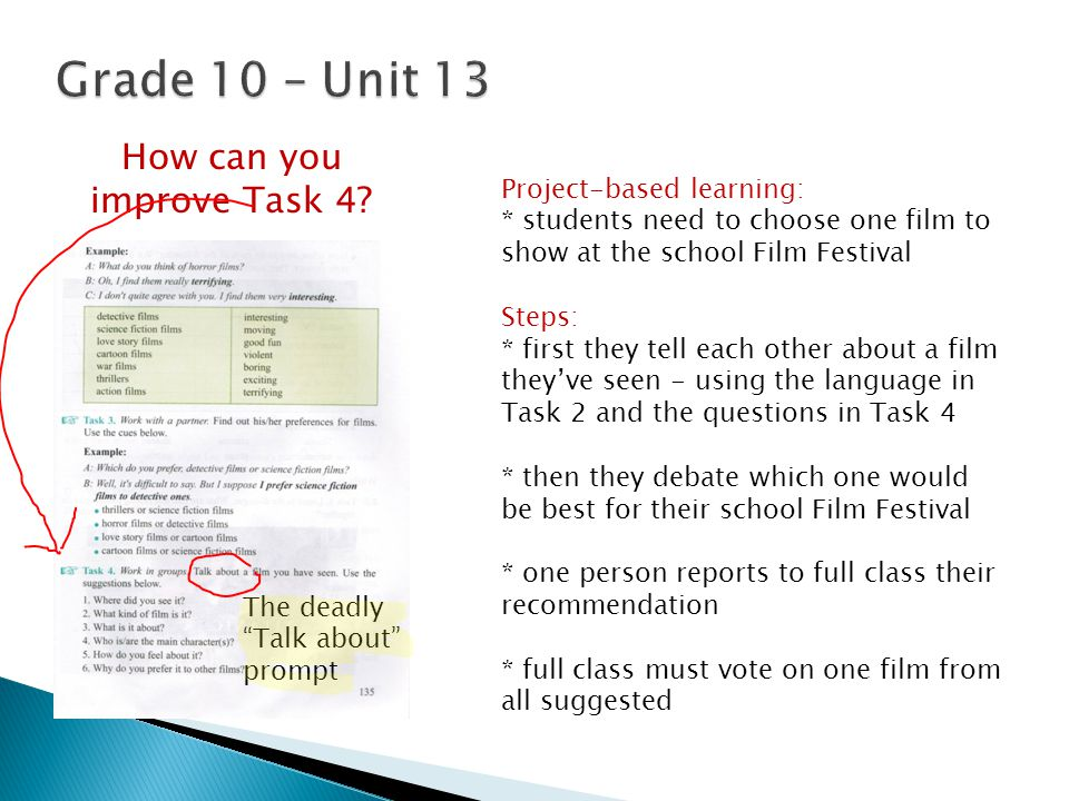 Project-based learning: * students need to choose one film to show at the school Film Festival Steps: * first they tell each other about a film they'v