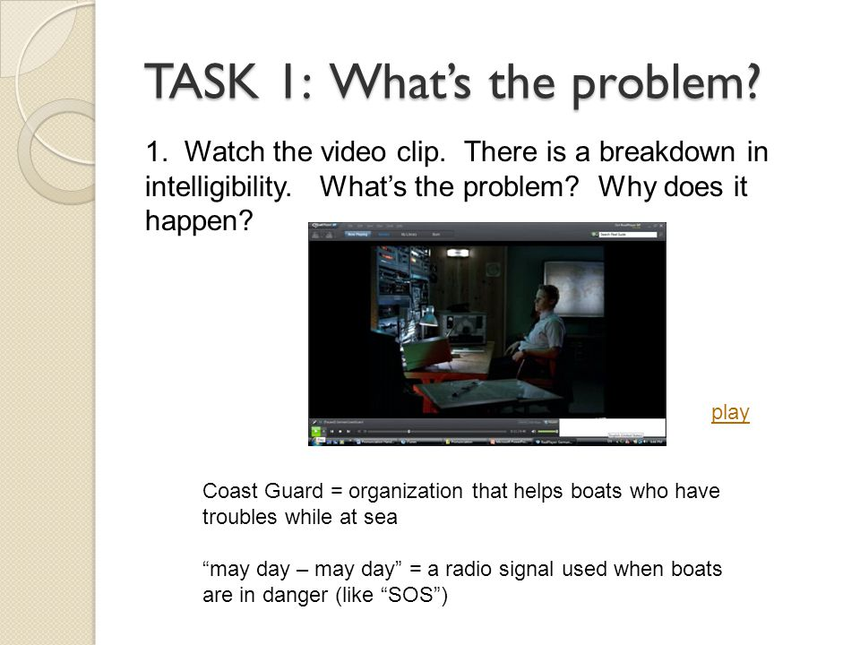 TASK 1: What's the problem. 1. Watch the video clip.