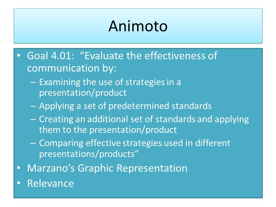 Animoto Goal 4.01: Evaluate the effectiveness of communication by: – Examining the use of strategies in a presentation/product – Applying a set of predetermined standards – Creating an additional set of standards and applying them to the presentation/product – Comparing effective strategies used in different presentations/products Marzano's Graphic Representation Relevance