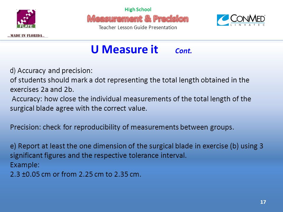 U Measure it Cont.