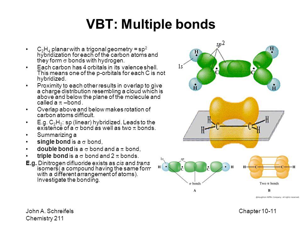 8–11 John A. Schreifels Chemistry 211 Chapter 10-11 VBT: Multiple bonds C 2 H 4 planar with a trigonal geometry = sp 2 hybridization for each of the c