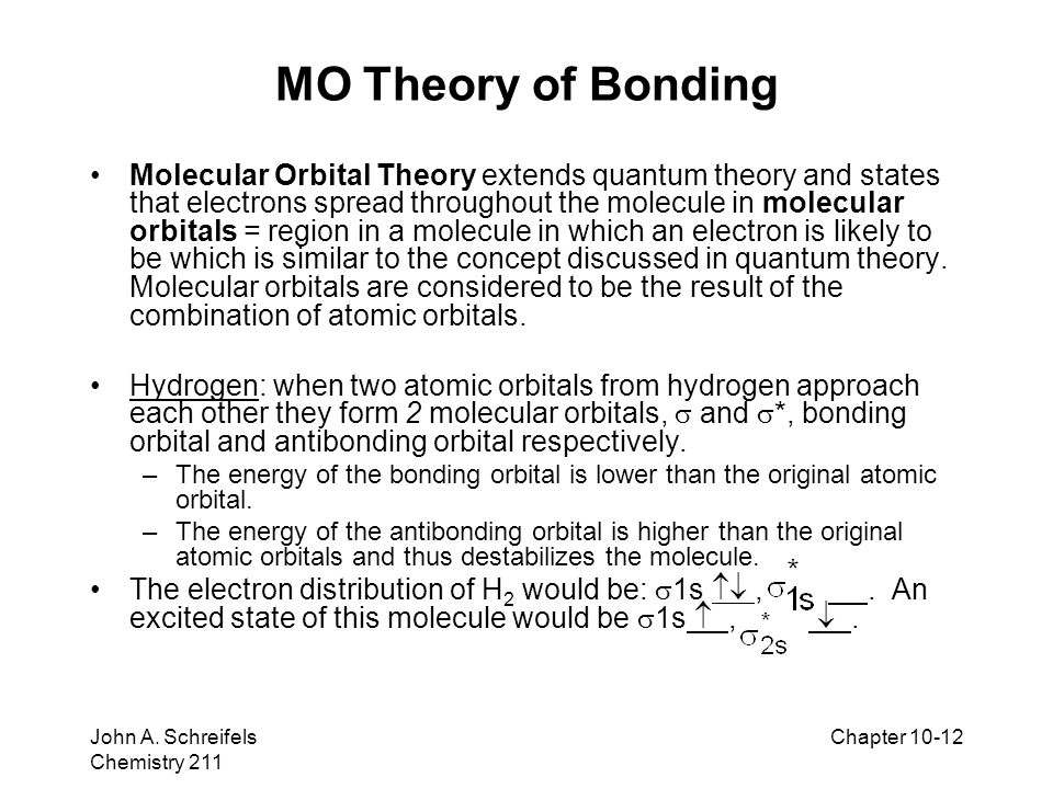 8–12 John A. Schreifels Chemistry 211 Chapter 10-12 MO Theory of Bonding Molecular Orbital Theory extends quantum theory and states that electrons spr