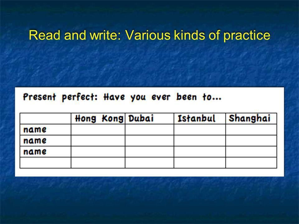 Read and write: Various kinds of practice