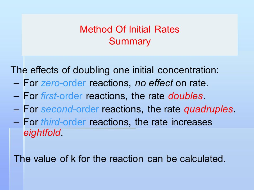 Method Of Initial Rates Summary The effects of doubling one initial concentration: –For zero-order reactions, no effect on rate. –For first-order reac