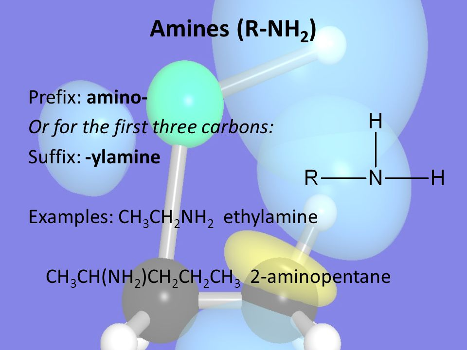 Prefix: amino- Or for the first three carbons: Suffix: -ylamine Examples: CH 3 CH 2 NH 2 ethylamine CH 3 CH(NH 2 )CH 2 CH 2 CH 3 2-aminopentane Amines