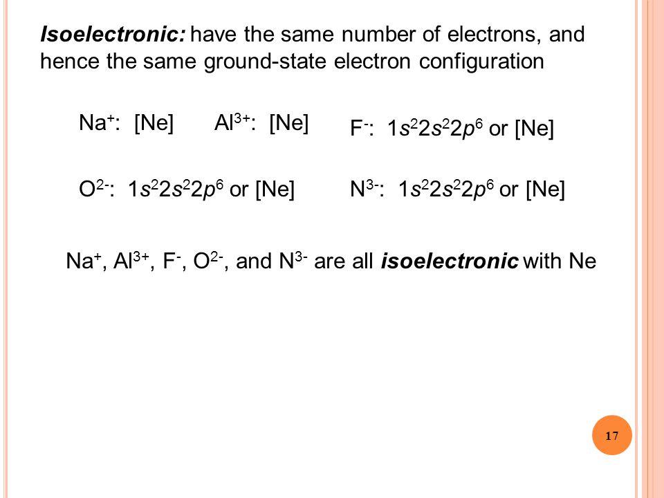 17 Na + : [Ne]Al 3+ : [Ne] F - : 1s 2 2s 2 2p 6 or [Ne] O 2- : 1s 2 2s 2 2p 6 or [Ne]N 3- : 1s 2 2s 2 2p 6 or [Ne] Na +, Al 3+, F -, O 2-, and N 3- ar