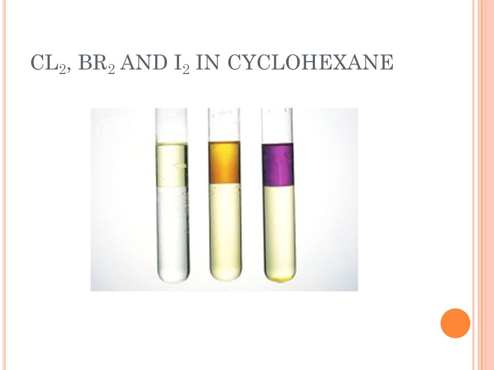 CL 2, BR 2 AND I 2 IN CYCLOHEXANE