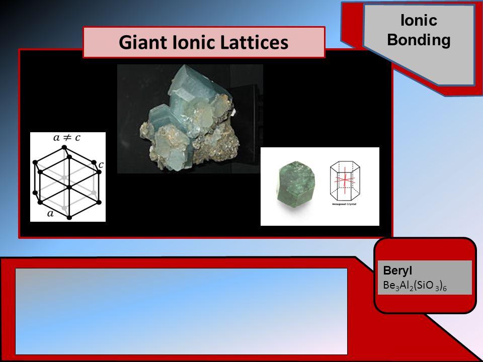 Beryl Be 3 Al 2 (SiO 3 ) 6 Ionic Bonding Giant Ionic Lattices