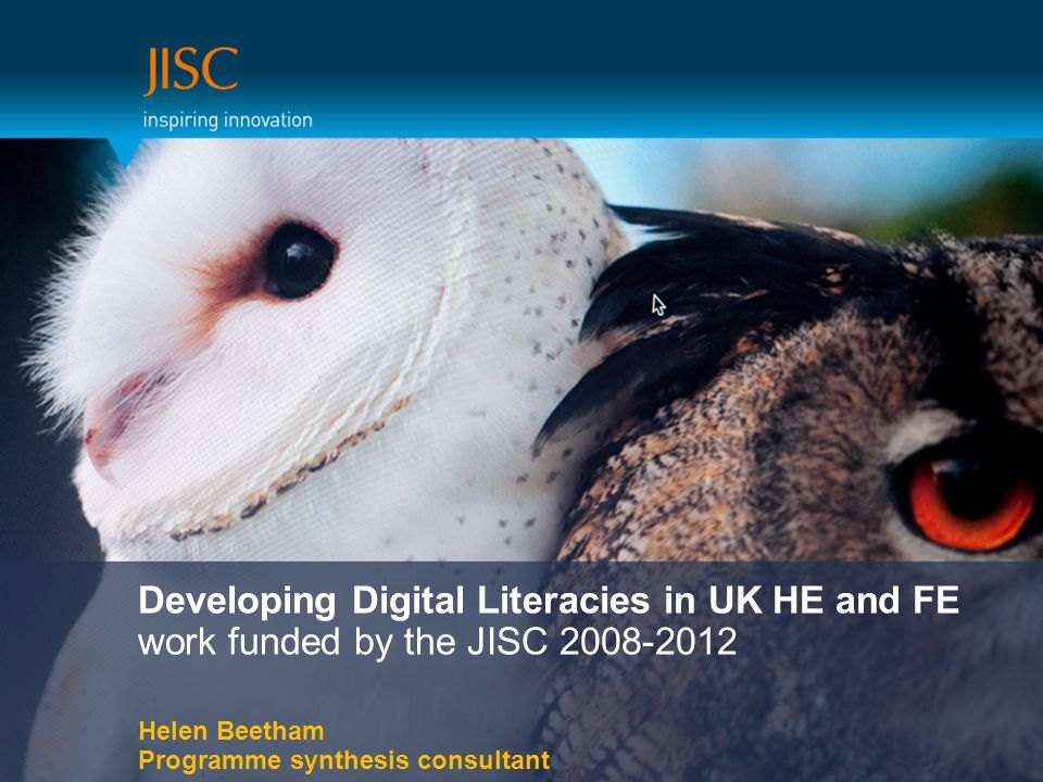 Developing Digital Literacies in UK HE and FE work funded by the JISC 2008-2012 Helen Beetham Programme synthesis consultant