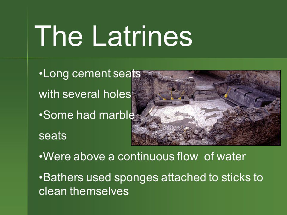 The Latrines Long cement seats with several holes Some had marble seats Were above a continuous flow of water Bathers used sponges attached to sticks