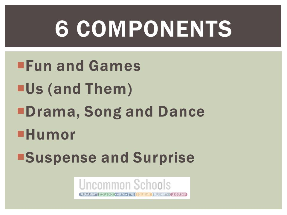  Fun and Games  Us (and Them)  Drama, Song and Dance  Humor  Suspense and Surprise 6 COMPONENTS