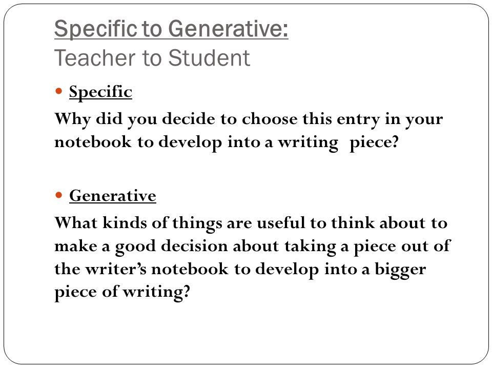 Specific to Generative: Coach with Teacher Specific How did you plan this introduction.