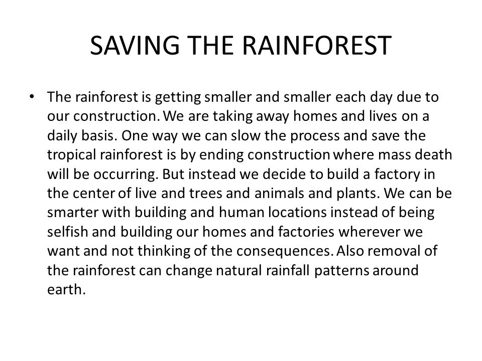 SAVING THE RAINFOREST The rainforest is getting smaller and smaller each day due to our construction.