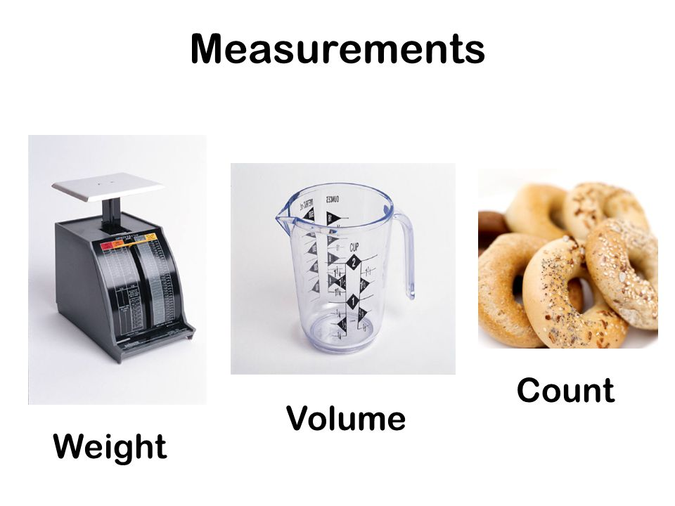 Measurements Weight Volume Count