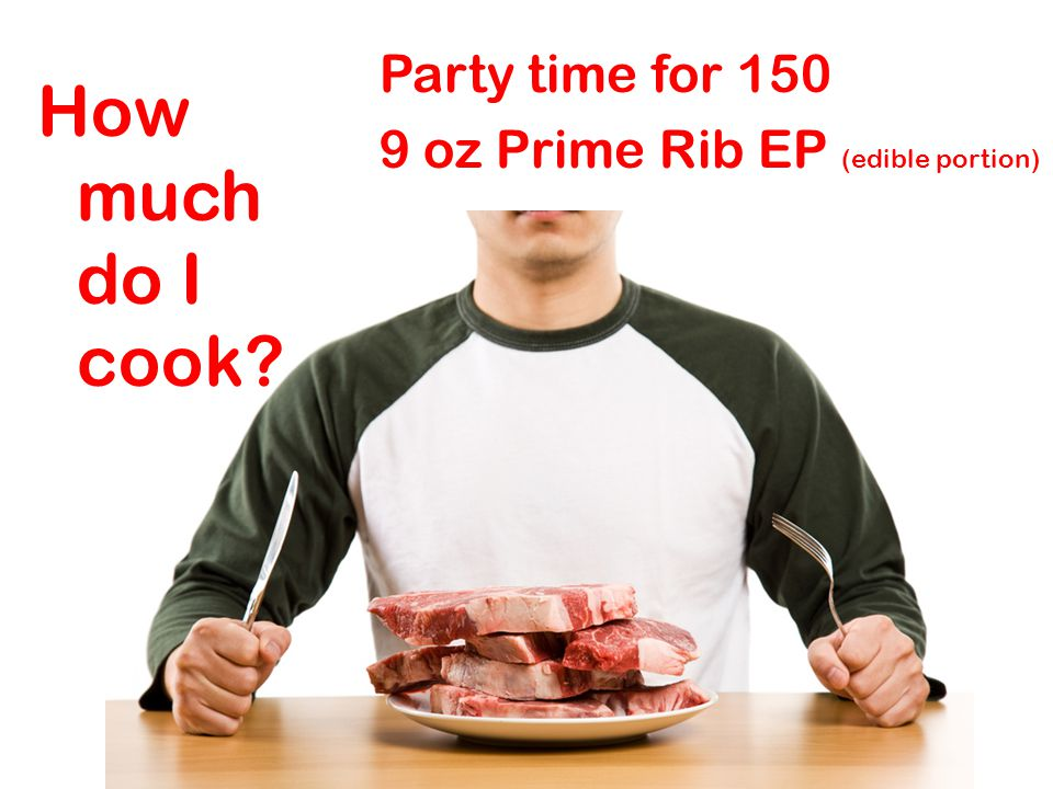 Party time for 150 9 oz Prime Rib EP (edible portion) How much do I cook