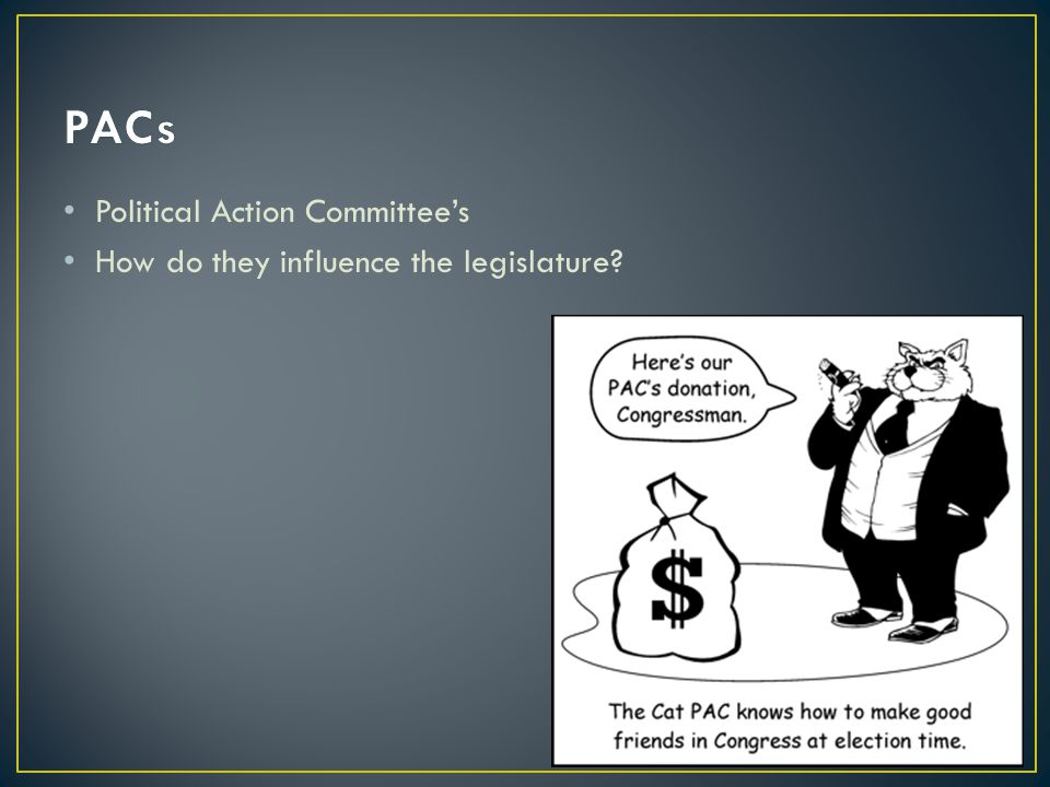 Political Action Committee's How do they influence the legislature