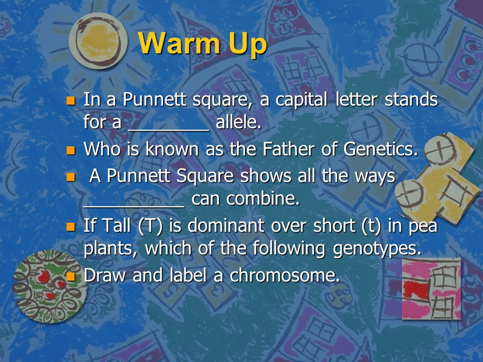 Warm Up n The physical appearance of an organism. n A section of DNA that contains the instructions for making a specific protein. n An organism that