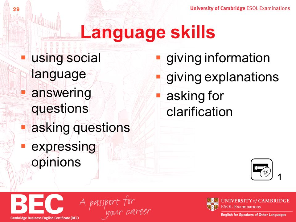 29 Language skills  using social language  answering questions  asking questions  expressing opinions  giving information  giving explanations  asking for clarification 1