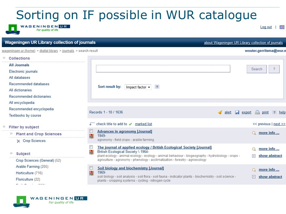Sorting on IF possible in WUR catalogue