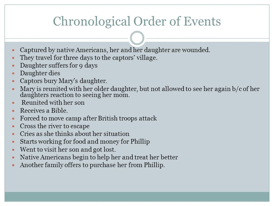 Chronological Order of Events Captured by native Americans, her and her daughter are wounded. They travel for three days to the captors' village. Daug