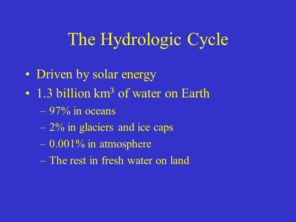 The Hydrologic Cycle Driven by solar energy 1.3 billion km 3 of water on Earth –97% in oceans –2% in glaciers and ice caps –0.001% in atmosphere –The rest in fresh water on land