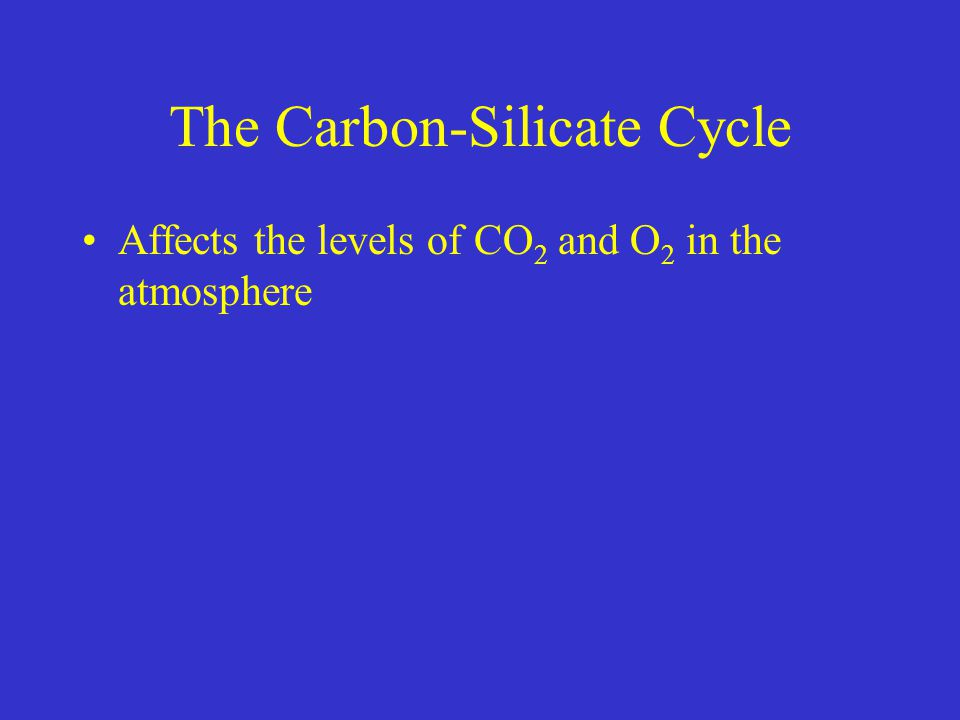 The Carbon-Silicate Cycle Affects the levels of CO 2 and O 2 in the atmosphere