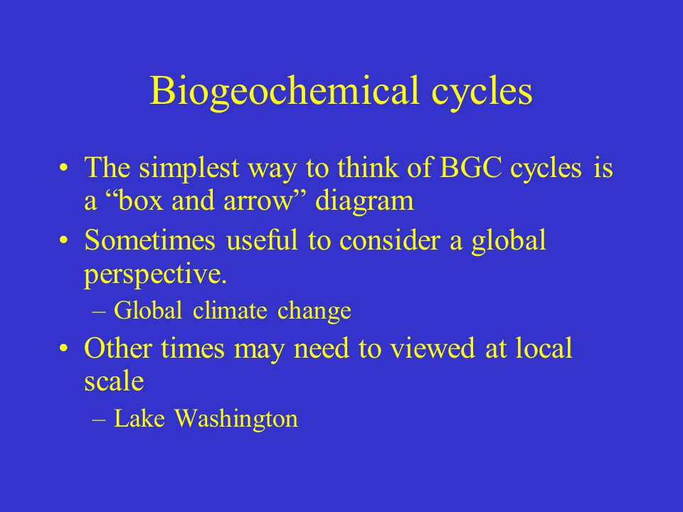 Biogeochemical cycles The simplest way to think of BGC cycles is a box and arrow diagram Sometimes useful to consider a global perspective.