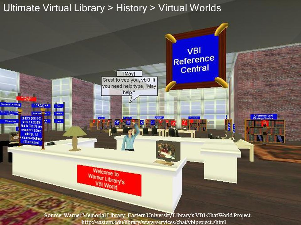Source: Warner Memorial Library: Eastern University Library's VBI ChatWorld Project. http://eastern.edu/library/www/services/chat/vbiproject.shtml Ult