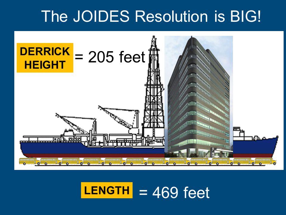 = 469 feet = 205 feet The JOIDES Resolution is BIG! LENGTH DERRICK HEIGHT