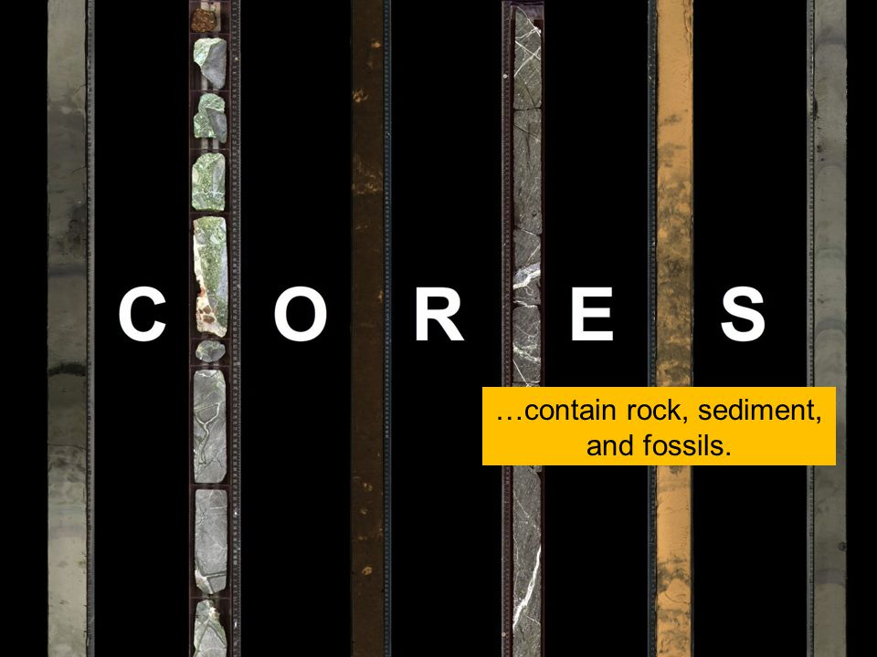…contain rock, sediment, and fossils.