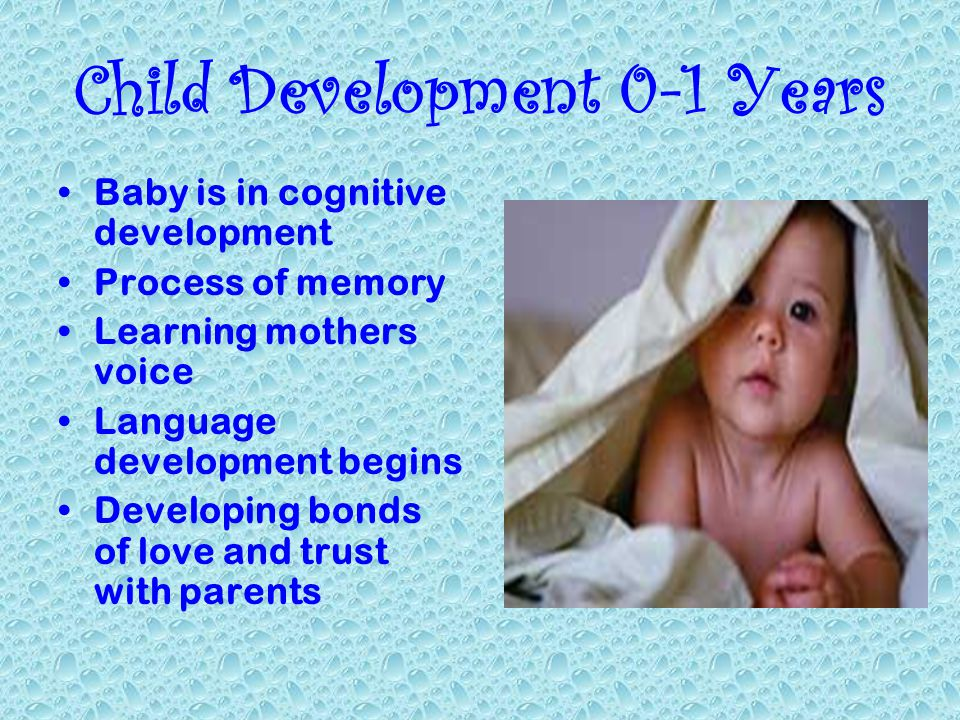 Child Development 0-1 Years Baby is in cognitive development Process of memory Learning mothers voice Language development begins Developing bonds of love and trust with parents