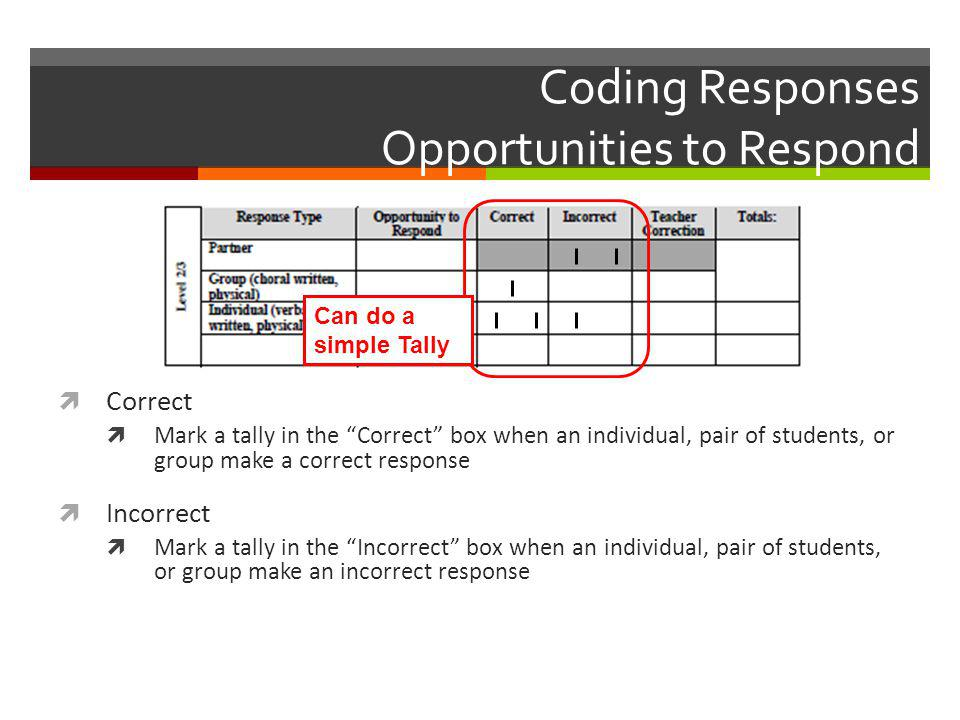 "Coding Responses Opportunities to Respond  Correct  Mark a tally in the ""Correct"" box when an individual, pair of students, or group make a correct"