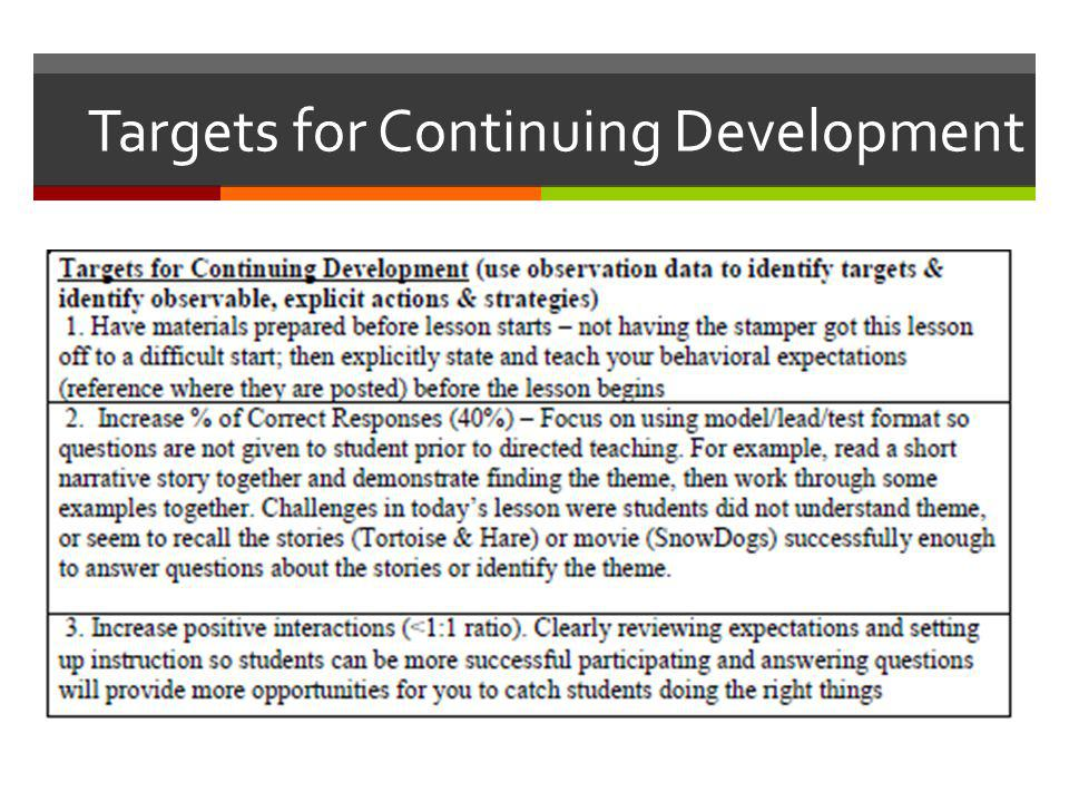 Targets for Continuing Development