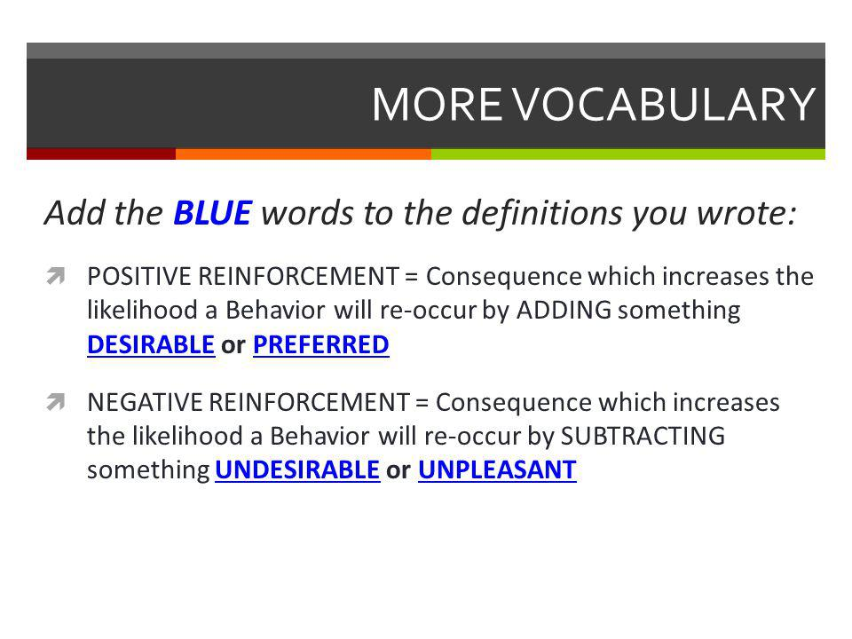 MORE VOCABULARY Add the BLUE words to the definitions you wrote:  POSITIVE REINFORCEMENT = Consequence which increases the likelihood a Behavior will