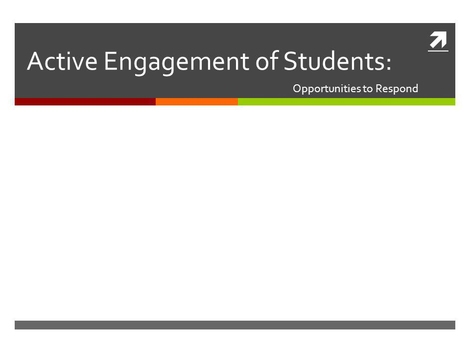  Active Engagement of Students: Opportunities to Respond