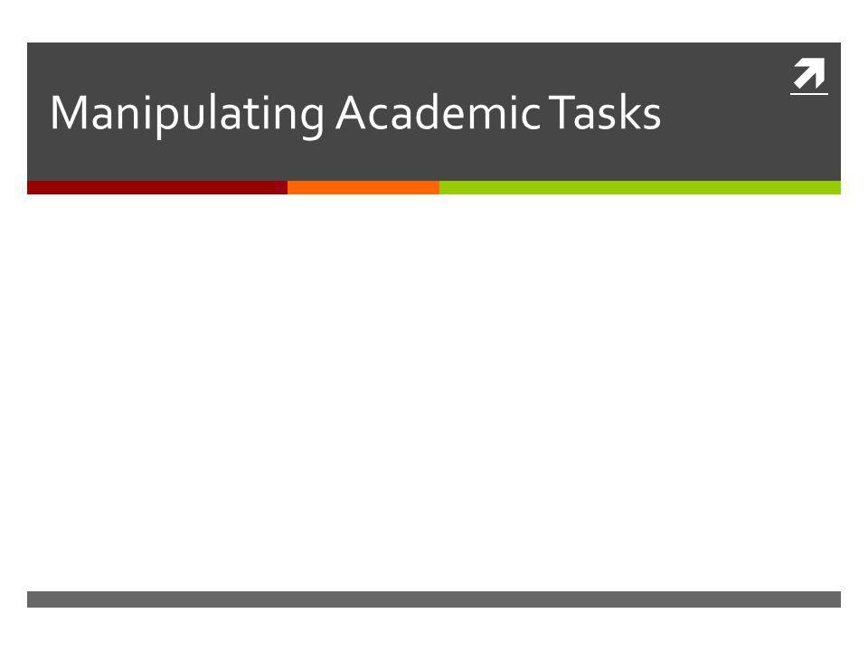  Manipulating Academic Tasks