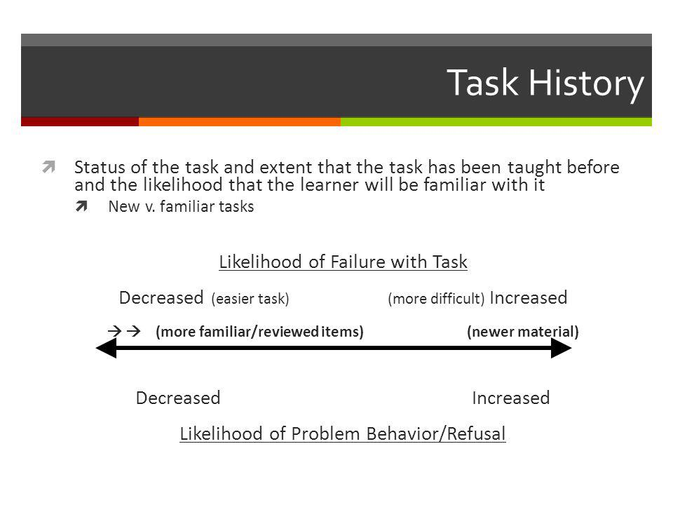 Task History  Status of the task and extent that the task has been taught before and the likelihood that the learner will be familiar with it  New v