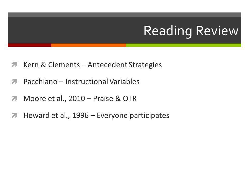 Reading Review  Kern & Clements – Antecedent Strategies  Pacchiano – Instructional Variables  Moore et al., 2010 – Praise & OTR  Heward et al., 1996 – Everyone participates
