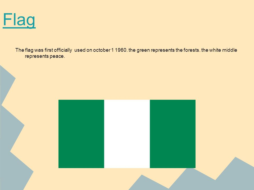 http://upload.wikimedia.org/wikipedia/commons/thumb/7/79/Flag_of_Nigeria.svg/300px-Flag_of_Nigeria.svg.png http://wiki.answers.com/Q/What_do_the_green_and_white_colors_in_the_Nigerian_flag_represent http://upload.wikimedia.org/wikipedia/commons/thumb/3/32/Naira_notes.jpg/252px-Naira_notes.jpg http://www.onlinenigeria.com/links/edit/my_documents/my_pictures/47A_goodluckJonathan.jpg http://www.intercarto.com/EN/produits_image/image_1439_BDM_Nigeria_GB.gif http://www.ezilon.com/maps/images/africa/political-map-of-Nigerian.gif http://world.euratlas.net/countries/nigeria.jpg http://www.caboose.org.uk/media/Nigeria/Opobo/June05/CassavaPlants_w.jpg http://www.nationsencyclopedia.com/Africa/Nigeria-CLIMATE.html