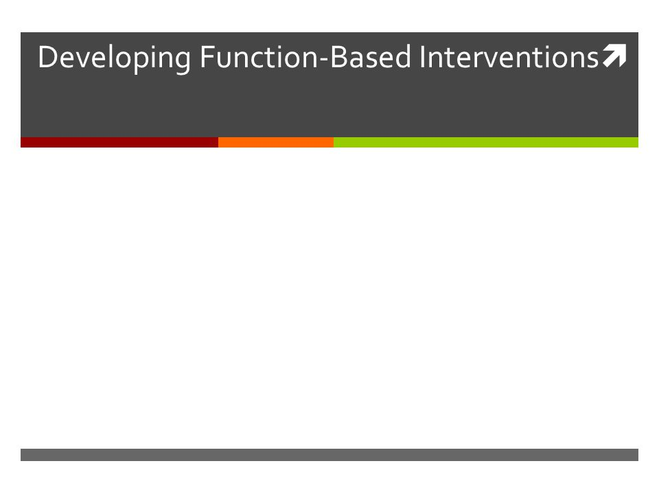  Developing Function-Based Interventions
