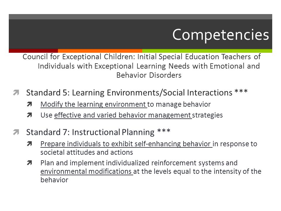 Competencies Council for Exceptional Children: Initial Special Education Teachers of Individuals with Exceptional Learning Needs with Emotional and Be