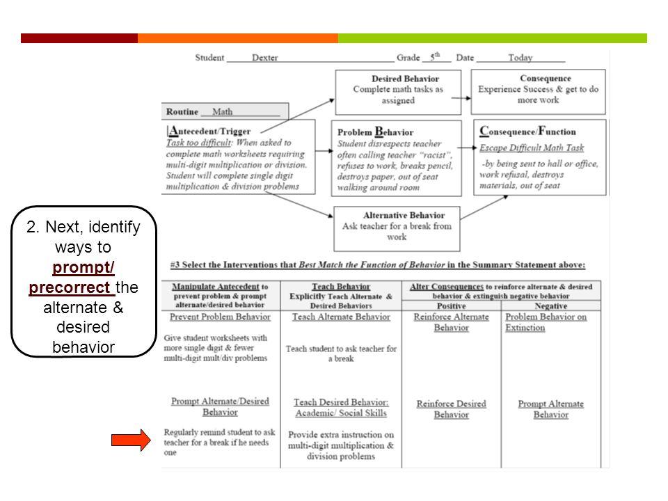 2. Next, identify ways to prompt/ precorrect the alternate & desired behavior