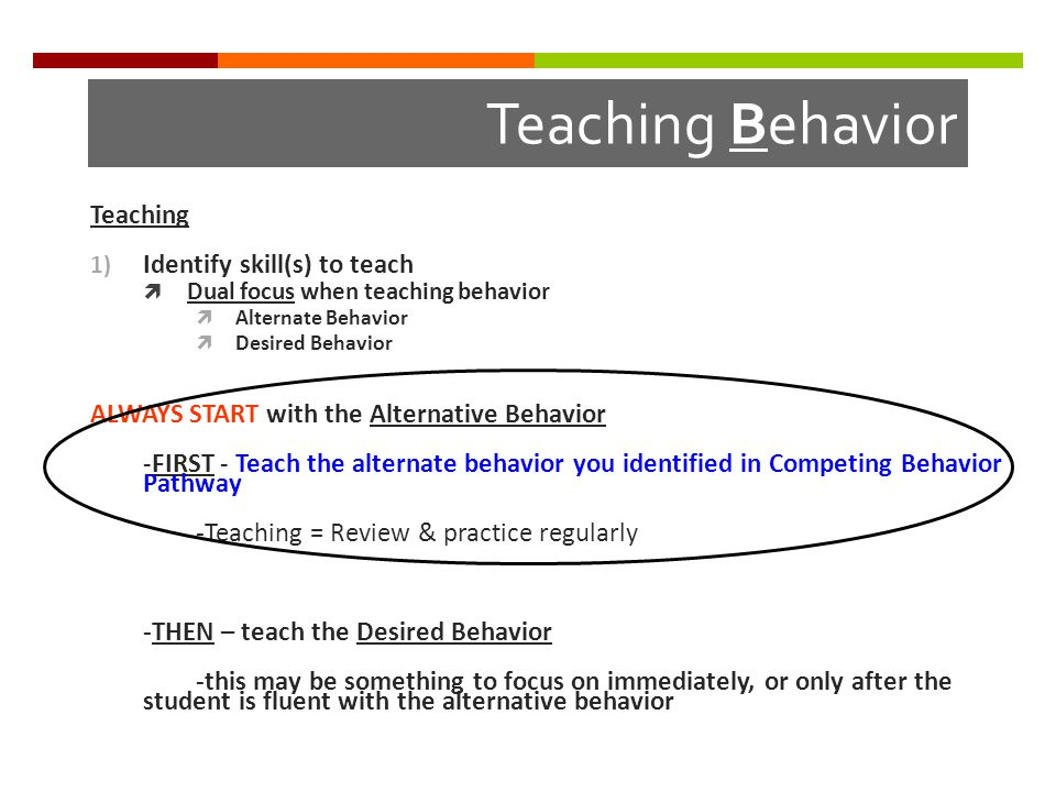 Teaching Behavior Teaching 1) Identify skill(s) to teach  Dual focus when teaching behavior  Alternate Behavior  Desired Behavior ALWAYS START with the Alternative Behavior -FIRST - Teach the alternate behavior you identified in Competing Behavior Pathway -Teaching = Review & practice regularly -THEN – teach the Desired Behavior -this may be something to focus on immediately, or only after the student is fluent with the alternative behavior