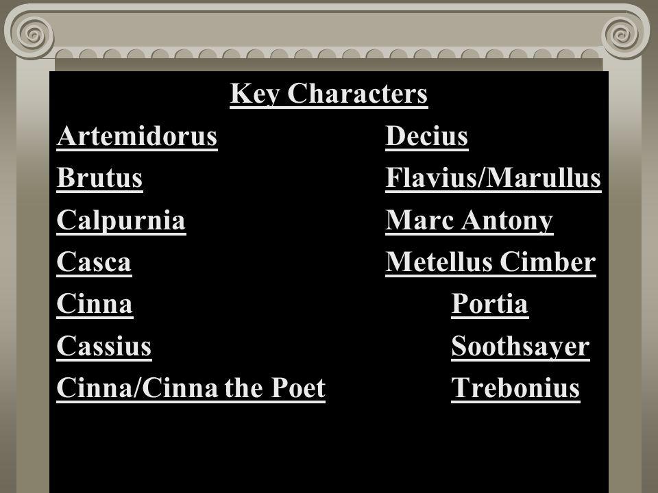 Act II, Scene i Key Characters ArtemidorusDecius BrutusFlavius/Marullus CalpurniaMarc Antony CascaMetellus Cimber CinnaPortia CassiusSoothsayer Cinna/Cinna the PoetTrebonius