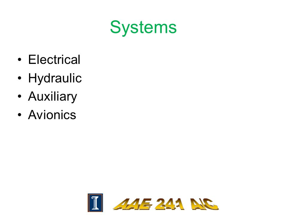 Systems Electrical Hydraulic Auxiliary Avionics