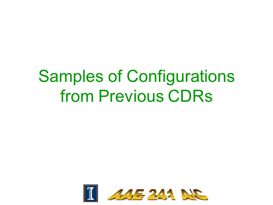 Samples of Configurations from Previous CDRs
