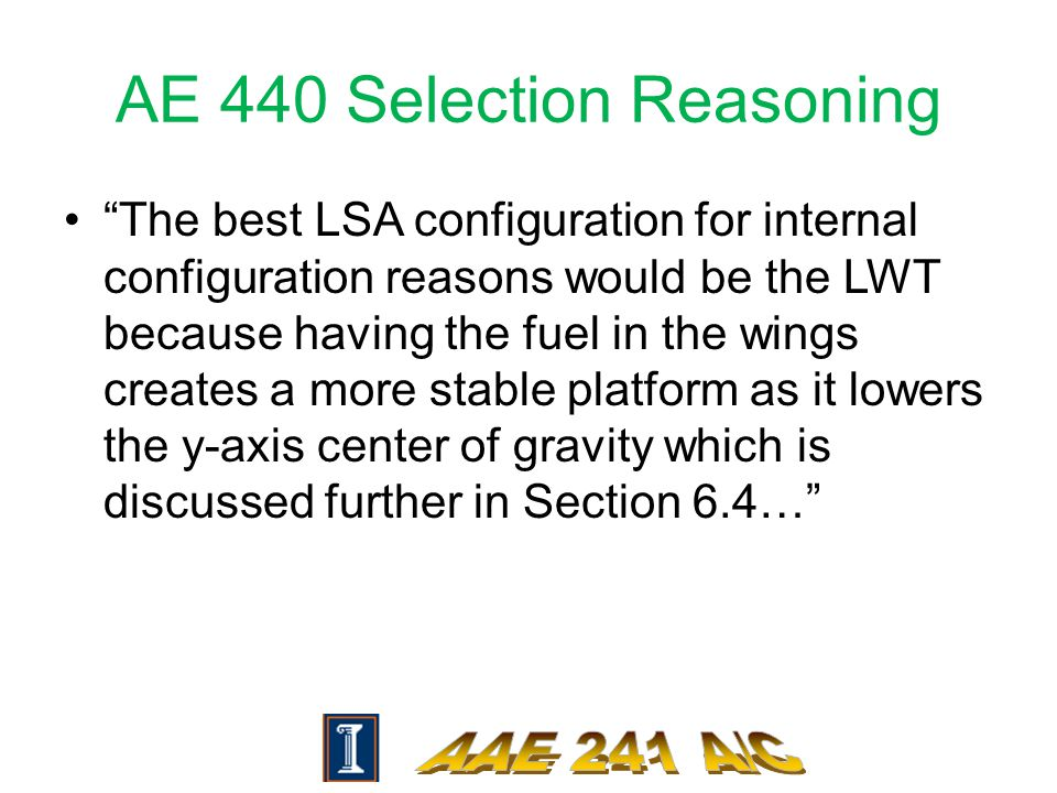 "AE 440 Selection Reasoning ""The best LSA configuration for internal configuration reasons would be the LWT because having the fuel in the wings create"