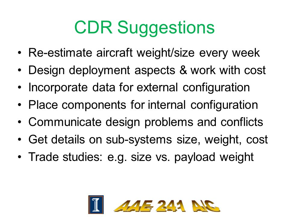 CDR Suggestions Re-estimate aircraft weight/size every week Design deployment aspects & work with cost Incorporate data for external configuration Place components for internal configuration Communicate design problems and conflicts Get details on sub-systems size, weight, cost Trade studies: e.g.